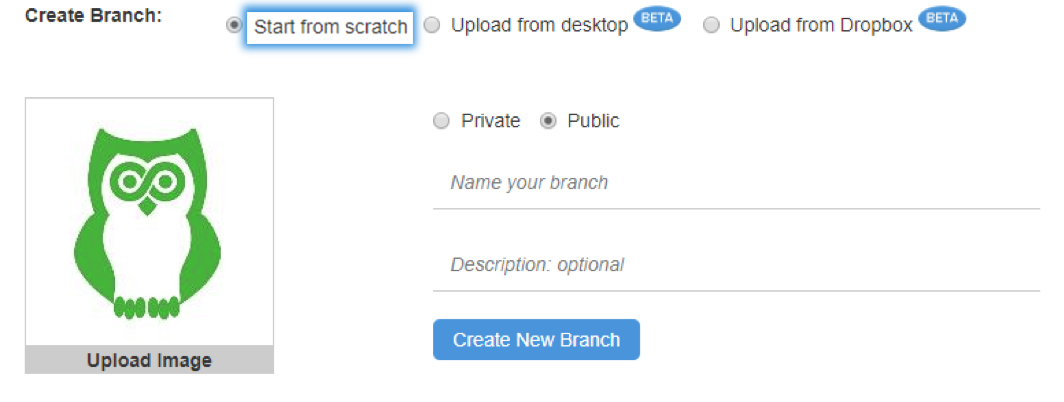 create branch from scratch image